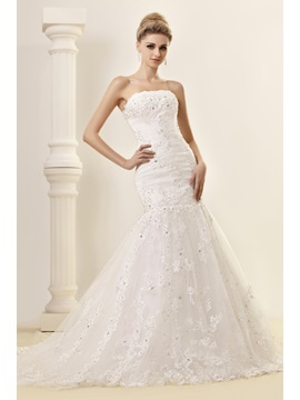 Gorgeous Trumpet/Mermaid Chapel Strapless Lace Dasha's Wedding Dress