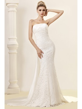 Attractive Strapless Floor-length Mermaid Wedding Dress