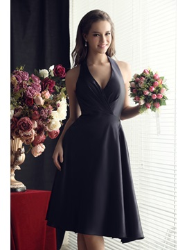 Ruched A-Line Bowknot Halter Knee-length Sandra's Bridesmaid Dress