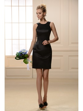 Modern Jewel Neck Straps Black Sheath Short Bridesmaid Dress
