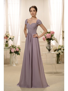 Graceful Pleats A-Line Off-the-Shoulder Floor-Length Bridesmaid Dress
