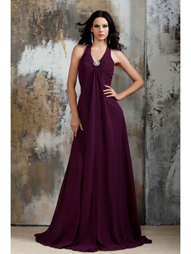 Empire Waist Halter A-Line Chiffon Purple Bridesmaid Dress