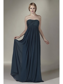 Charming A-Line Ruched Floor-length Strapless Sasha's Bridesmaid Dress