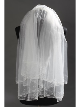 Delicate Elbow Tull Wedding Bridal Veil with Rhinestone