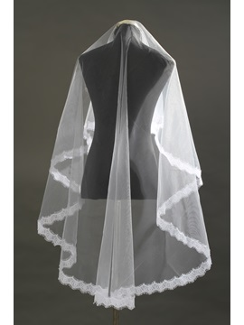 Waltz Length White Lace Wedding Veil