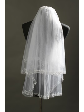 Faddish Elbow Tull Wedding Bridal Veil with Beads