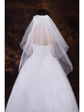 Two Layers Elbow Wedding Veil With Beads