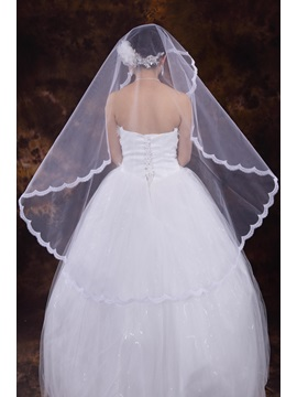 Best White Tull Fingertip Veil with Lace Applique Edge