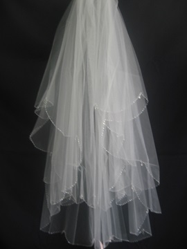 Pretty Elbow Wedding Veil with Beaded Edge