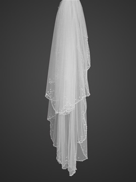 Elegant Fingertip Style Wedding Veil with Beaded Edge
