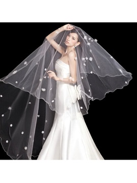 Flowers Chapel Wedding Bridal Veil with Lace Applique Edge