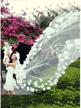 Charming Tidebuy Cathedral Length White Tulle Wedding Veil