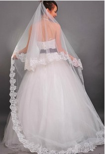 Perfect Cathedral Length White Lace Wedding Veil