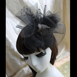 Luxurious Black Veil Wedding Bridal Hats