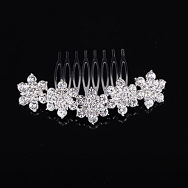 Dazzling Simple Style Floral Rhinestone with Alloy Wedding Comb