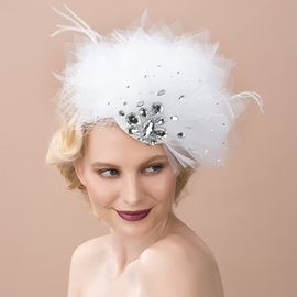 White Rhinestone Feathered Net Birdcage Veil Bridal Hats Wedding Veil Headwear