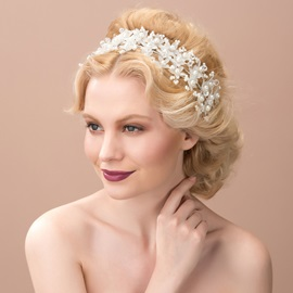 Charming Pearls Floral White Wedding Headband