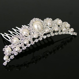 Bright Alloy with Pearl Wedding Bridal Tiara