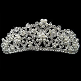 Glittering Alloy with Pretty Rhinestone Butterfly and Pearl Flower Wedding Bridal Tiara