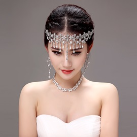 Shiny Rhinestone Alloy Wedding Jewelry Sets (Including Headwear, Earrings, and Necklace)
