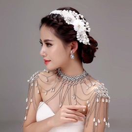 Classy Floral Pearl Tassel Alloy Wedding Jewelry Sets (Including Hair Flower, Earrings, and Necklace)