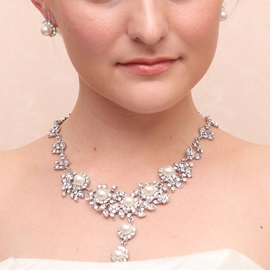 Hot Pearls Rhinestone Alloy Wedding Jewelry Set (Including Necklace and Earrings)