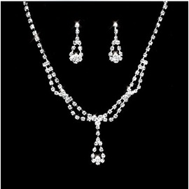 Faddish Simple Alloy with Rhinestone Wedding Jewelry Set(Including Necklace and Earrings)