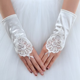 Beautiful Short Finger-less Satin Wedding Glove with Laciness Applique(white,red)