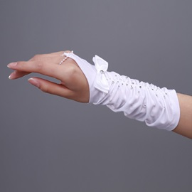 Finger-less Wedding Gloves with Rhinestones