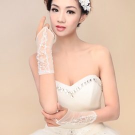 Classic Beaded Appliques Fingerless Ivory Wedding Gloves