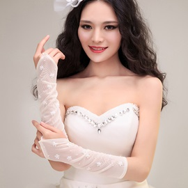 Elegant Pearl Appliques Ivory Fingerless Wedding Gloves