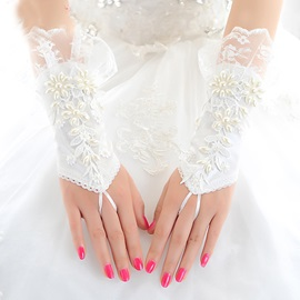 Pearls Ivory Satin Fingerless Wedding Gloves