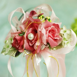 Nice Pink Silk Cloth Flower Wedding Bridal Wrist Corsage