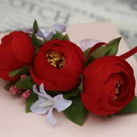 Wonderful Red Silk Cloth Bud Wedding Wrist Corsage for Bride