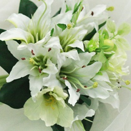 Attractive 10 Pieces Green-white Silk Cloth Lily Wedding Bridal Bouquet
