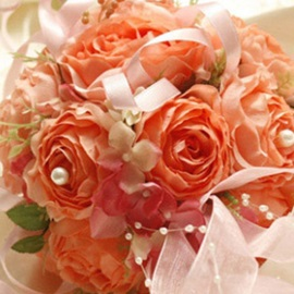 Romantic Pink-red Silk Cloth Wedding Bouquet for Bride
