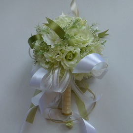 Amazing Pale Green Silk Cloth Wedding Bridal Bouauet with White Ribbon