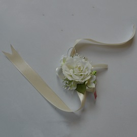 Calm Ivory Silk Colth Wedding Wrist Corsage with Pale White Ribbon