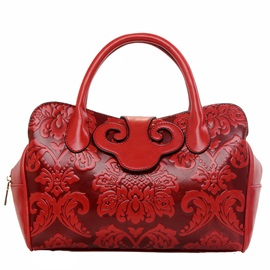 Embossing Pattern Zipper Women Satchel