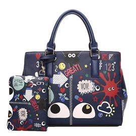 High Quality Pu Print Women Bag Set