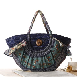 Top Quality Zipper Pattern Women Straw Bag