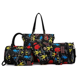 Cartoon Pattern Printed Women's Bag Set ( Six Bags )