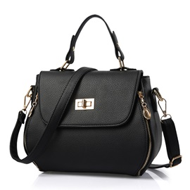 Piggy Face Double Side Zipper Satchel