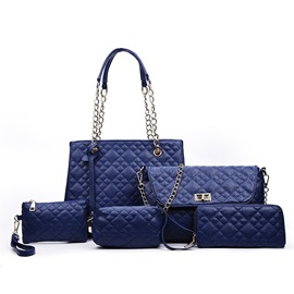 Fashion Chain Handle Lining Plaid Embossed Bag Sets (5 Pieces)