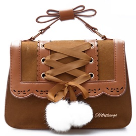 Vintage Fuzzy Ball Nubuck Leather Women Satchel