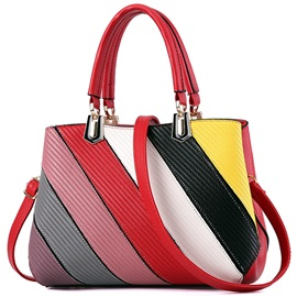 Simple Color Block Patchwork Women Satchel