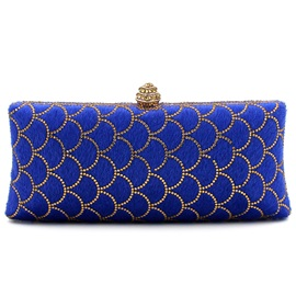 Graceful Blue Sector Diamond Evening Clutch