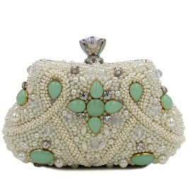 Ladylike Colorful Pearl Decorated Evening Clutch