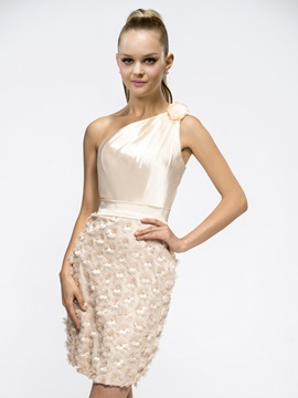 Special Sheath/Column Short-Length One-Shoulder Flowers Cocktail/Homecoming Dress & Cocktail Dresses on sale