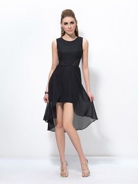 Simple A-Line Scoop Neck Zipper-up Asymmetry Cocktail Dress & Cocktail Dresses under 300